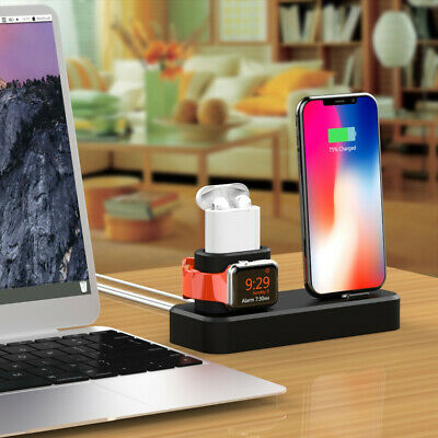 AU26.92 • Buy Charging Stand Station Holder Dock For IPhone For Apple Watch For Airpods 3-in-1