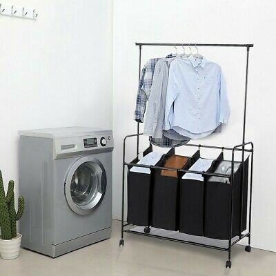 $44.96 • Buy Hanging Bar Heavy-Duty 4-Bag Rolling Laundry Sorter Storage Cart With Wheels US