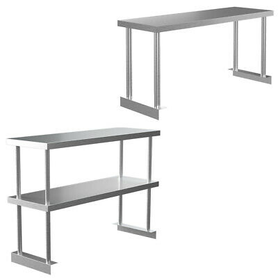 Stainless Steel Over Shelf 900-1500mm Commercial Kitchen Table Top Shelf 1/2Tier • 99.95£