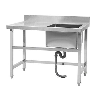 Stainless Steel Commercial Sink Single Bowl Kitchen Catering Prep Table WasteKit • 213.95£