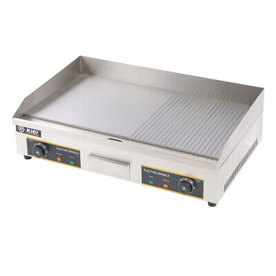 Commercial Electric Griddle Half-ribbed Kitchen Hotplate Countertop Flat Grill • 179.95£