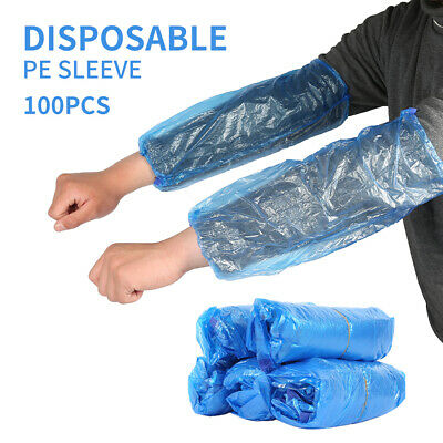 50Pair Disposable Plastic Long Arm Sleeves Cover Cleaning Oversleeves Protective • 7.99£