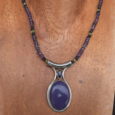 $94 • Buy Offerings SS Sugilite & Iolite Pendant On Amethyst, Iolite, Peridot Beaded Neck