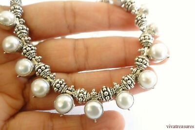 $199 • Buy White Mabe Pearl Ornate Balinese 925 Sterling Silver Chain Necklace