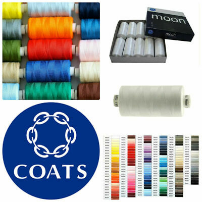 Coats Moon Sewing Machine Polyester Overlocking Thread Cotton 1000 Yard ALL COLS • 1.75£