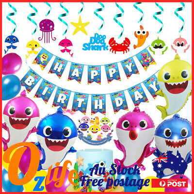 AU28.80 • Buy Deluxe Pinkfong Baby Shark Balloons Set Air Inflatable Birthday Party Decoration