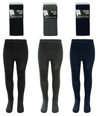 Girls Cotton Rich School Tights Socks Footed Plain Grey Black Navy Ages 5-10 Yrs • 2.29£