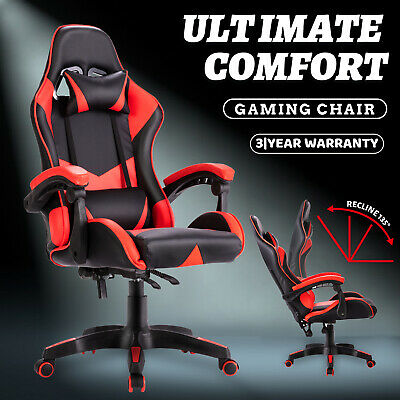 AU139.90 • Buy Gaming Racer Chair Computer Executive Office Seating PU Leather Mesh Foam Black