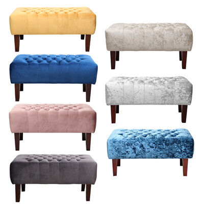 Chesterfield Plush/Crushed Velvet Button Footstool Footrest Sofa Bedroom Benches • 72.95£