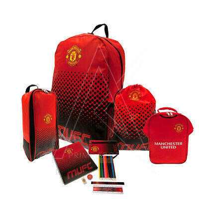 Manchester United FC Team Set Back To School Backpack Bottle Gym Boot Lunch Bag • 65.21£