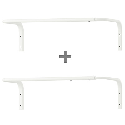 2 X IKEA Wall Mounted Clothes Rail Adjustable Bar Hanging Rack White 60-90cm New • 19.99£