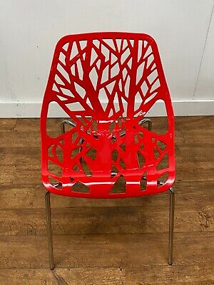 New Commercial Grade Red Tree Of Life Outdoor Composite Stacking Bistro Chairs • 29.95£