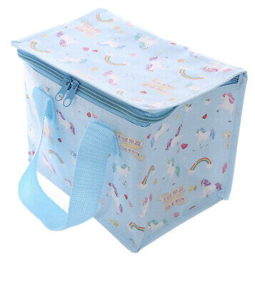 Woven Cool Bag Lunch Box & Pencil Case Gift Set Rainbow Unicorn Design • 4.99£