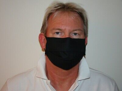 4 Ply Breathable Black Cotton Face Mask.  Flu/pollution/dust/virus. Washable.. • 6£