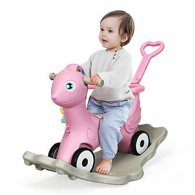 £41.99 • Buy 3-In-1 Baby Rocking Horse Toddler Nursery Rocker With Safety Fence And Music Box