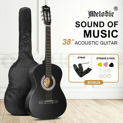 AU49.95 • Buy Melodic 38  Inch Acoustic Guitar Round Classical Guitar Black W/Bag Strings