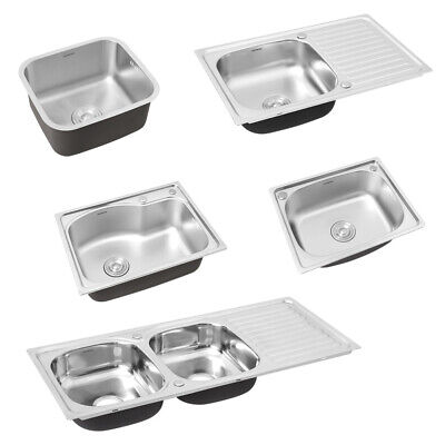 Inset Kitchen Sink Stainless Steel Single/Double Bowl Reversible Drainer + Waste • 90.95£