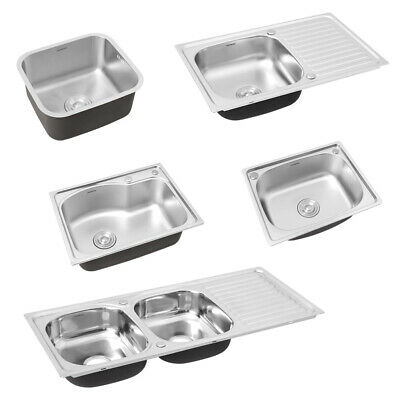 Inset Kitchen Sink Stainless Steel Single/Double Bowl Reversible Drainer + Waste • 75.95£