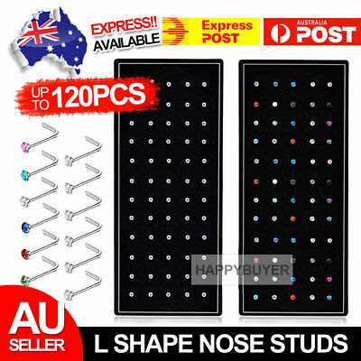 AU8.95 • Buy 60PCS Stainless Steel Crystal Nose Studs Straight Nose Pin Nose Piercing Rings A
