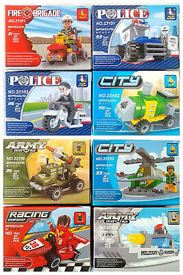 £25.45 • Buy Ausini Lego Type MINI Army Racing Boat War Helicopter Police City Fire LOT Of 8