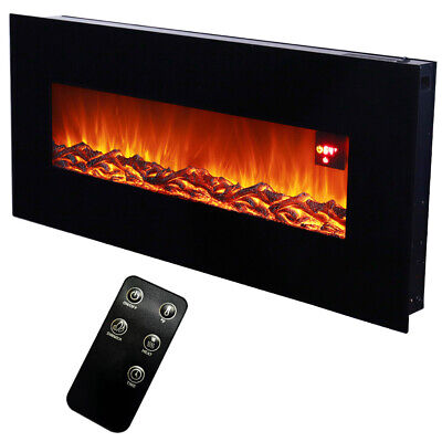 50 Inch Wide Led Flame Wall Mounted Electric Fireplace Heater Log Burning Remote • 309.95£