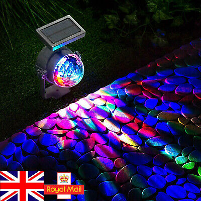 2PCS Solar LED Carnival Spotlight Colour Changing Projection Stake Light Outdoor • 15.59£