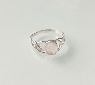 New 925 Sterling Silver And Rose Quartz Ladies Celtic Ring Sizes J-R • 13.75£