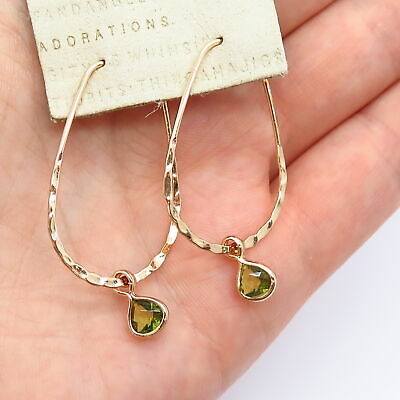 $ CDN39.23 • Buy Old Stock Anthropologie Drop Hoop Earrings W / Crystal In Gold Tone