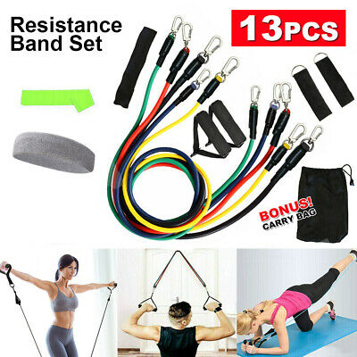 AU15.45 • Buy 13 PCS Resistance Band Set Yoga Pilates Abs Exercise Fitness Tube Workout Bands