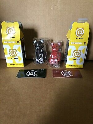 $90 • Buy Be@rbrick Series 28 Artist Clot SET RARE Medicom Toy 2014 Bearbrick Red Black