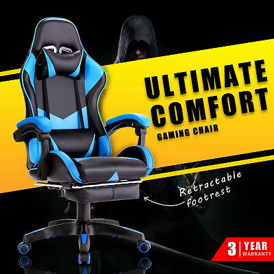 AU129.90 • Buy Gaming Chair Office Computer Seat Racing Executive PU Recliner W/Footrest Blue
