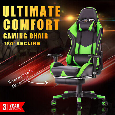 AU159.90 • Buy Executive Gaming Chair Office Computer Seat Racing Recliner W/Footrest Green