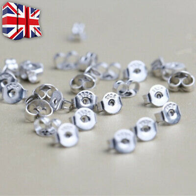 925 Sterling Silver Butterfly Backs Push Fit Ear Pin Stud Earring Scroll Stopper • 1.59£