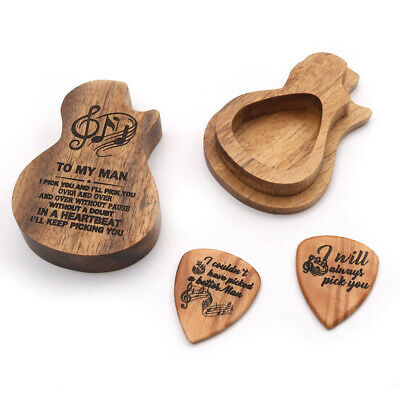$ CDN14.01 • Buy Guitar Wooden Pick Box Holder Collector With 2pcs Wood Picks Profession New L1A5