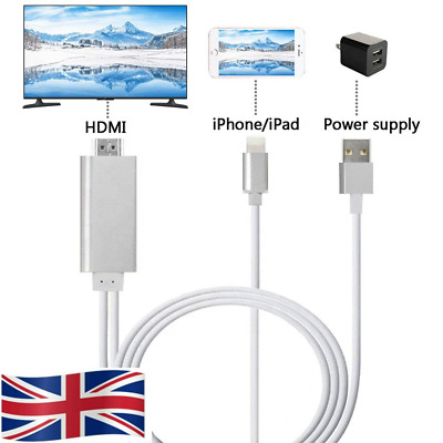 LIGHTNING To HDMI DIGITAL AV TV Cable Adapter For IPHONE IPAD 6 7 8 X 11 PRO MAX • 10.99£