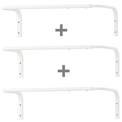 3 X IKEA Wall Mounted Clothes Rail Adjustable Bar Hanging Rack White 60-90cm New • 26.99£