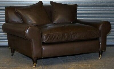Lovely Terence Conran Winslow Leather Sofa With Feather Filled Seat Rrp £3,500 • 750£
