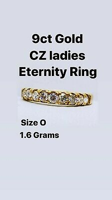 9ct Gold Cubic Zirconia Eternity Ring Size O Weight 1.6 Grams • 65£