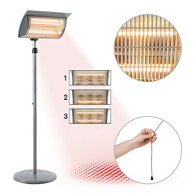 Infrared  Patio Heater Terrace Heater 2000 W Free Standing Halogen Lamp Grey • 149.99£
