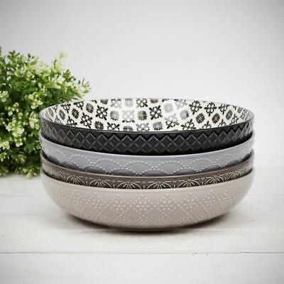 Home Living Set Of 4 Large Ceramic Pasta Bowls In Mixed Patterns Dining Bowl • 29.99£