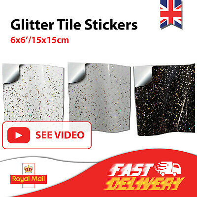 20 Black White Grey Glitter Tile Stickers Tile Transfers 6x6 Tile Covers 15x15cm • 8.99£