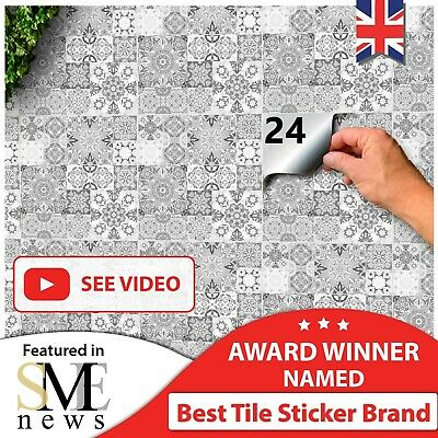 £7.99 • Buy 48/24 Tile Stickers Waterproof Transfers Cover Kitchen Bathroom Stick On Wall UK