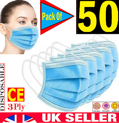 Face Mask Surgical Disposable 3 Ply Layer Medical Mouth Covering Masks [50-pack] • 3.75£