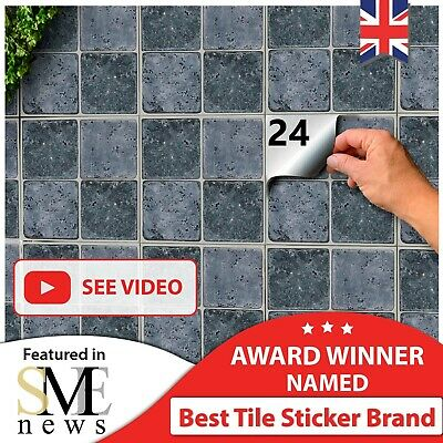 24 Tile Stickers Kitchen 15x15cm For Kitchen Tile Transfers 6x6 Decals Grey UK • 6.99£