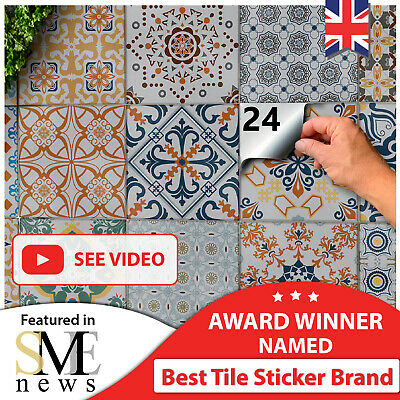 24 Grey Tile Stickers Victorian Mosaic Tile Transfers 6x6 Tile Covers Decals UK • 8.99£