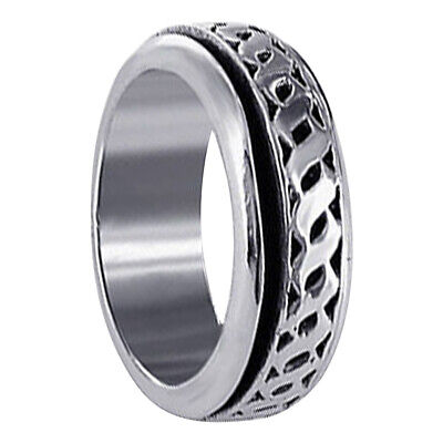 Men's 925 Sterling Silver 8mm Spinning Band Size 8 - 12 • 21.64£