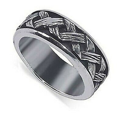 Men's 925 Sterling Silver Braided Woven Design 8mm Spinning Band Size 7 - 12 • 18.57£