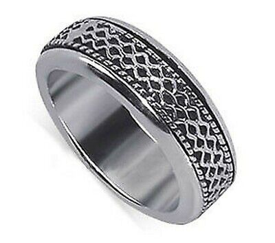 Men's 925 Sterling Silver Textural Lines Design 7mm Spinning Band Size 7 - 12 • 18.54£