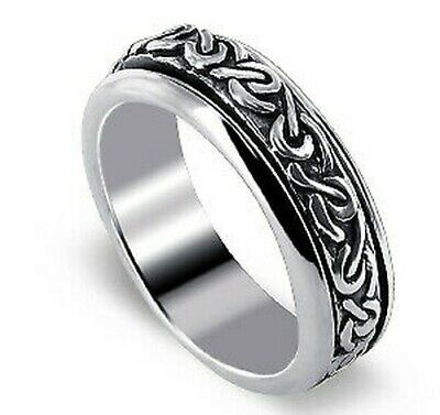 Men's 925 Sterling Silver Celtic Knot Design 6mm Spinning Band Worry Ring • 18.54£