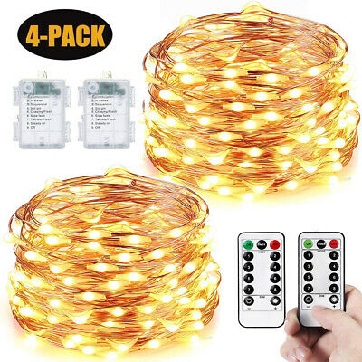 $18.99 • Buy 100/200/400 LED String Wire Fairy Lights 2m/3m/4m/5m/10m Xmas Wedding + AA Box